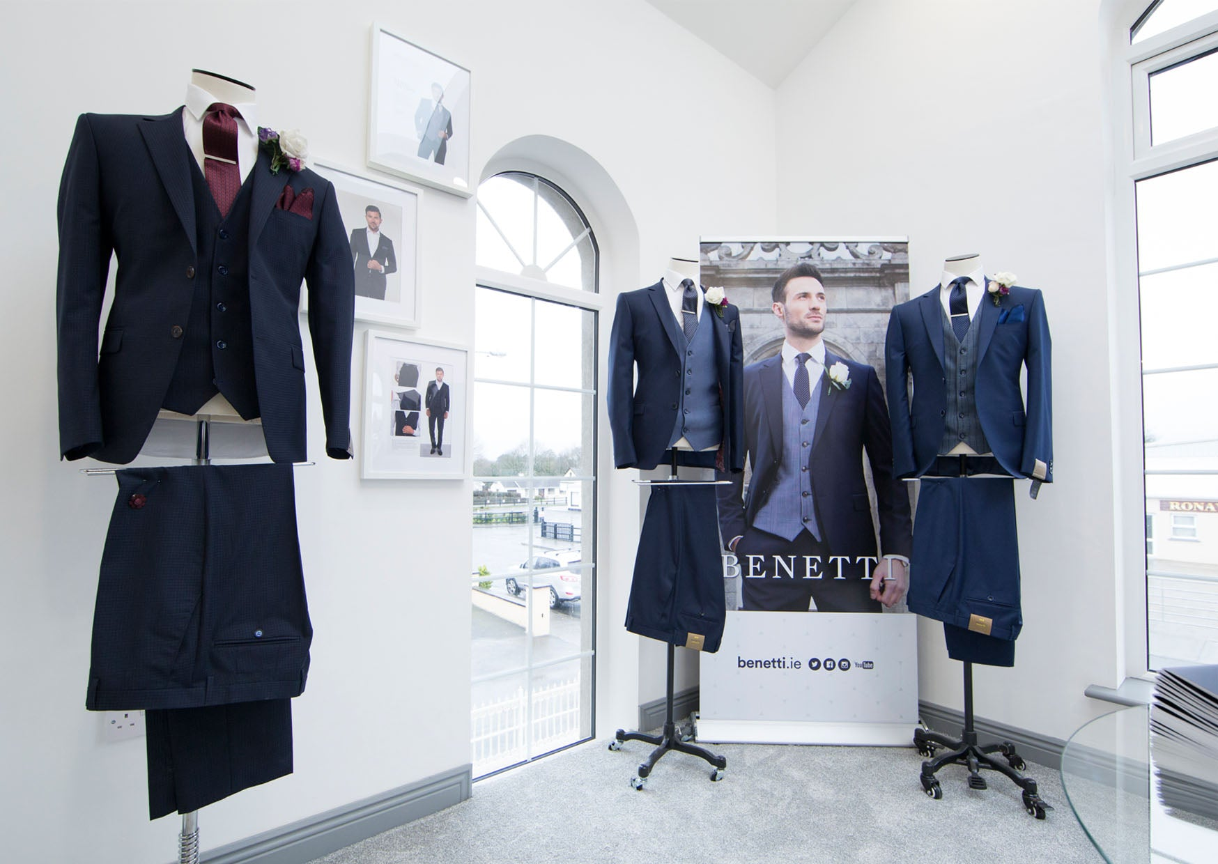 Benetti Menswear, Menswear Ireland, Benetti showroom, Official Launch, Ballymahon, Model, suits, shirt, ties, Benetti, Mix and Match Suits