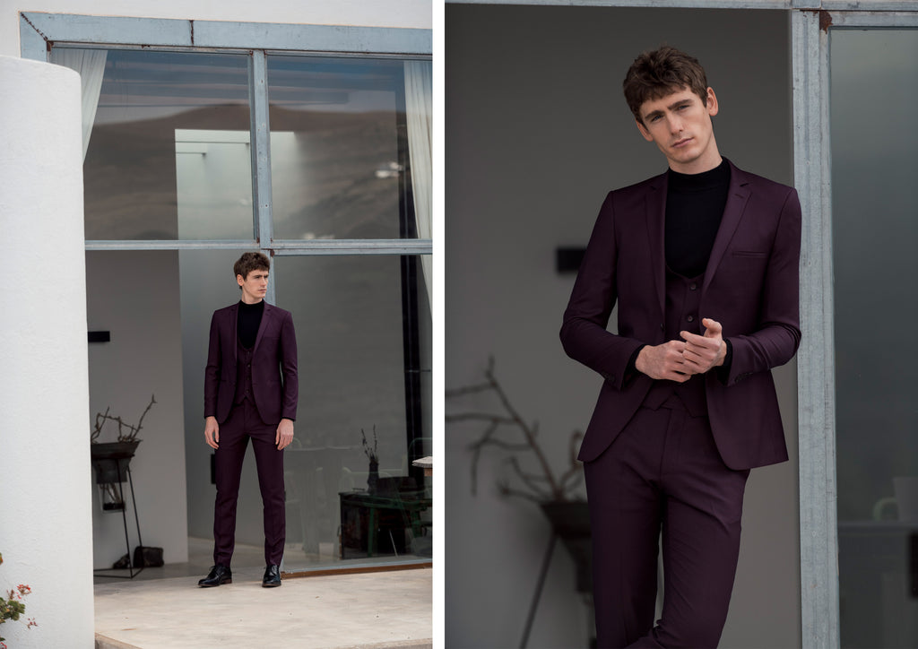 Benetti Burgundy 3 Piece Suit