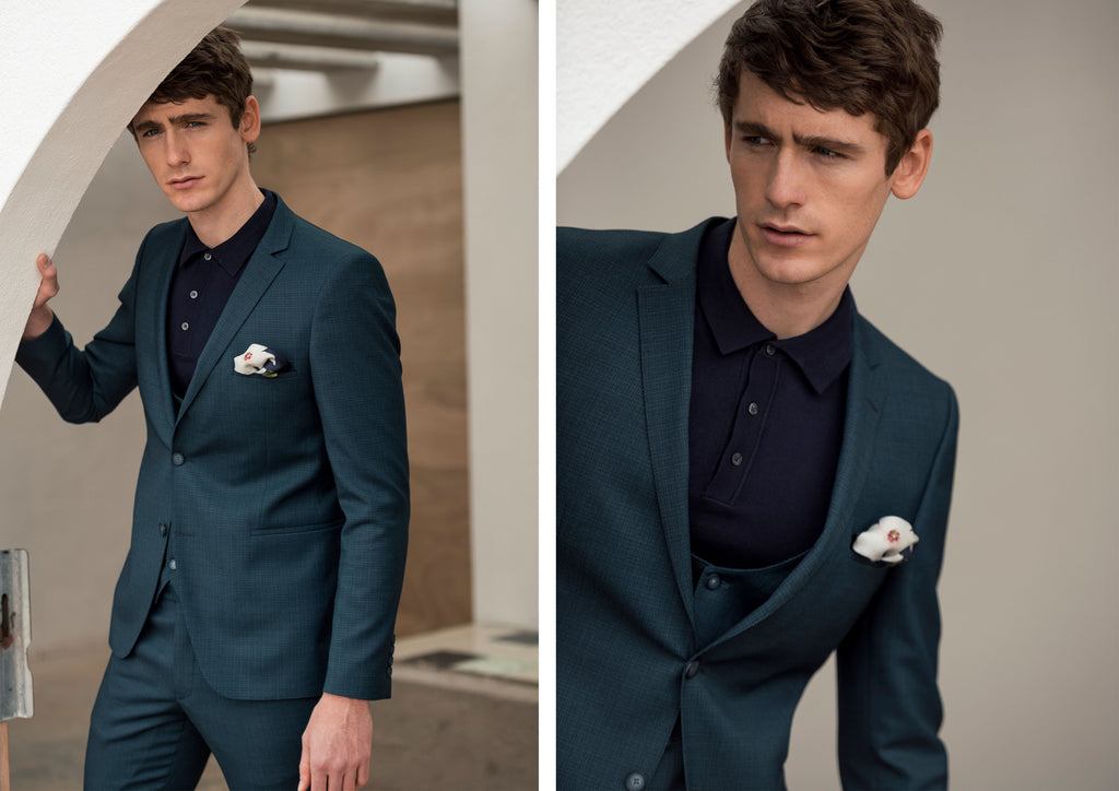 Benetti Menswear Teal 3 Piece Suit