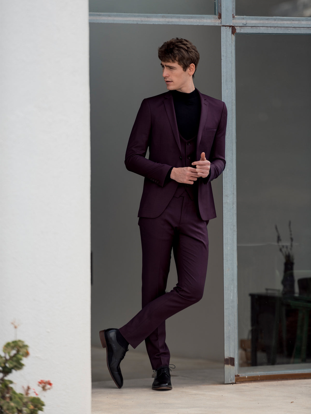 Burgundy 3 Piece Benetti Menswear Suit