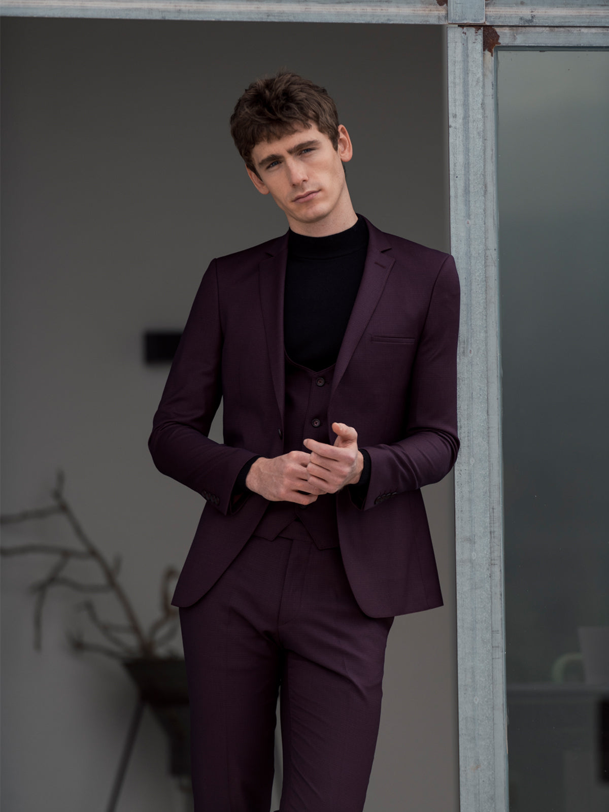 Emmet Burgundy 3 Piece Benetti Suit