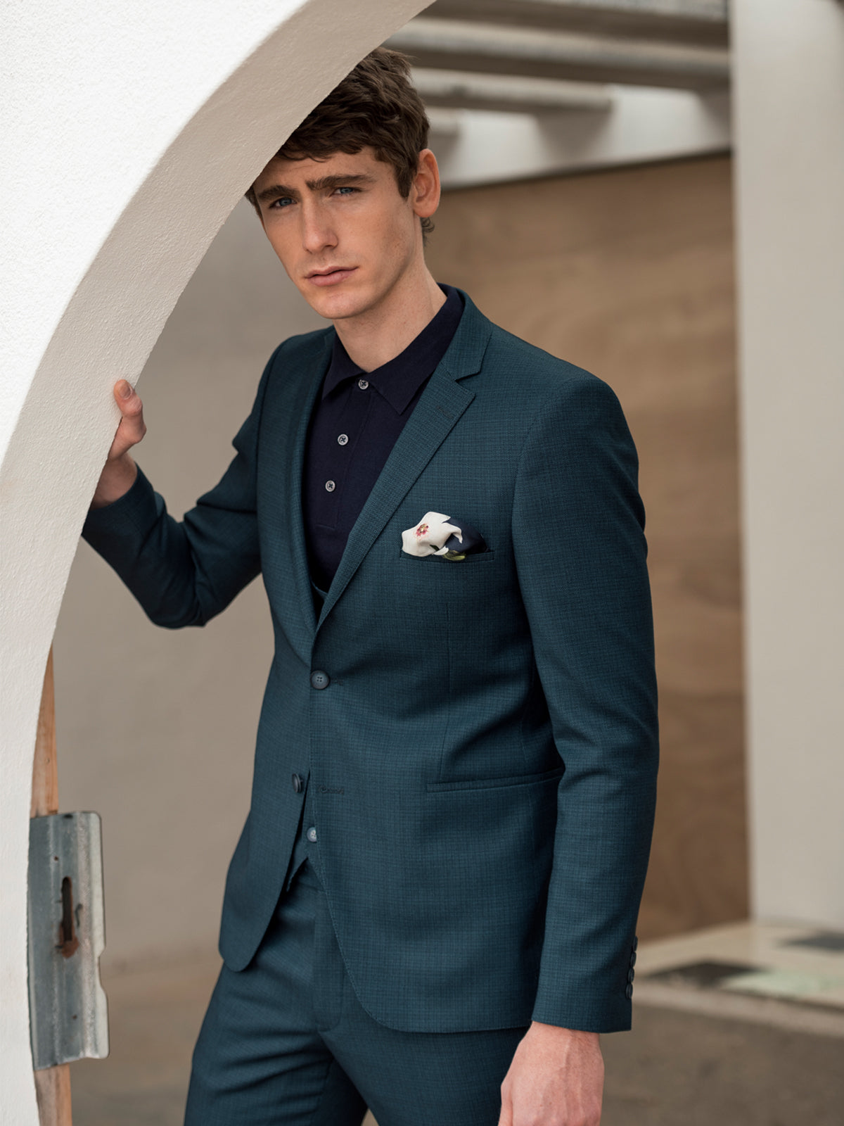 Emmet Teal 3 Piece Benetti Suit