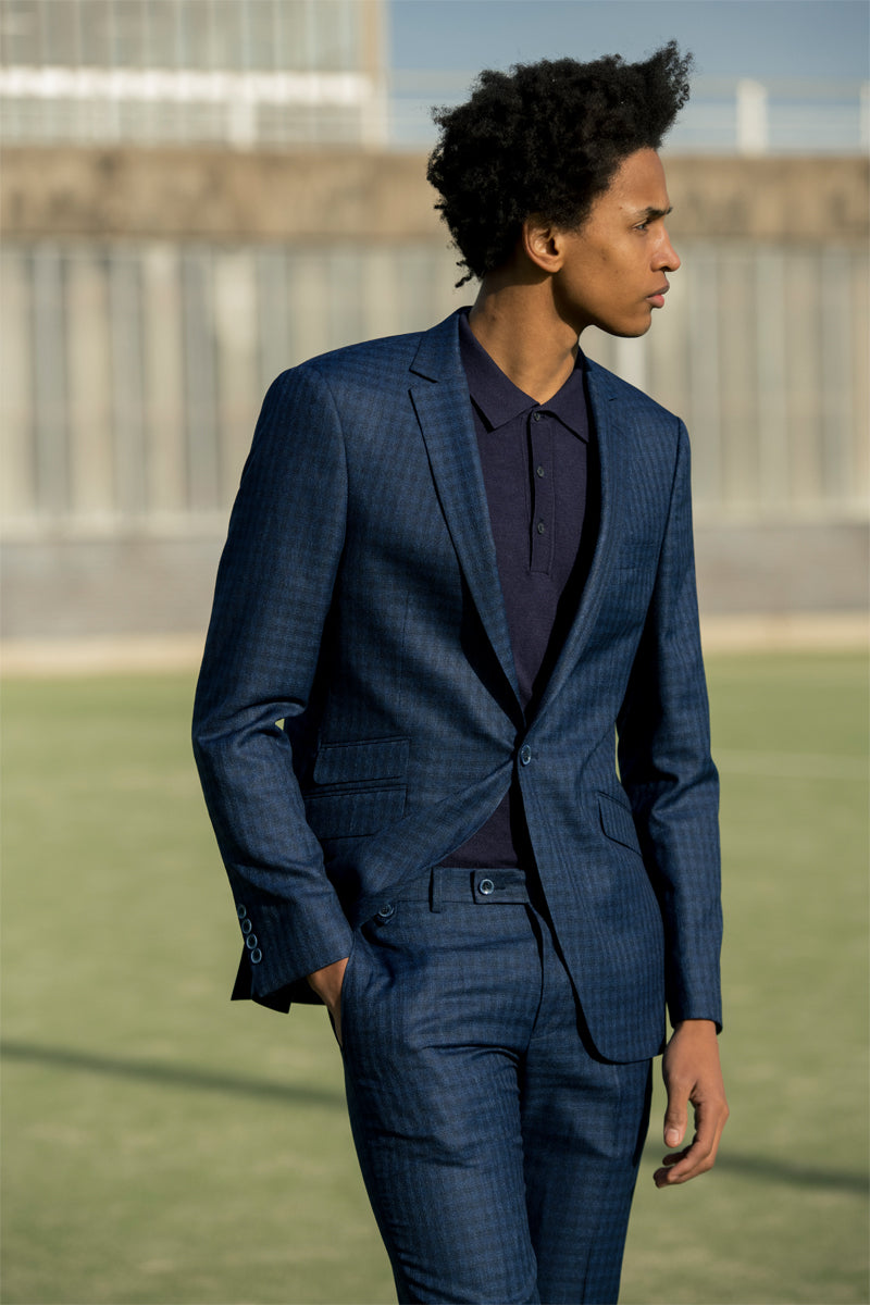 Rufus Navy 3 Piece Check Suit