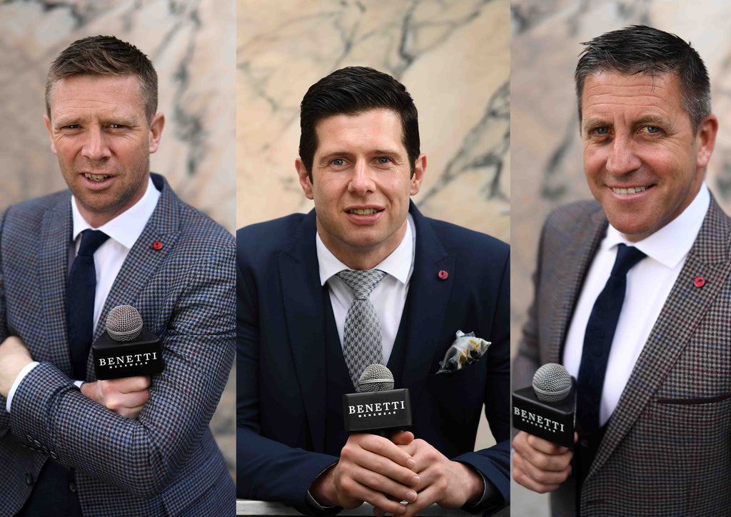 Tomas O'Se, Sean Cavanagh and Senan Connell at the Benetti Menswear Press Event