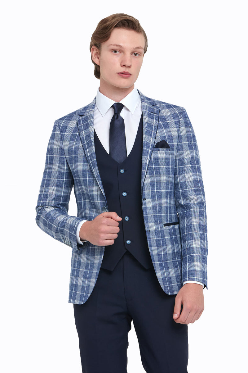 Kevin Navy Check Benetti Jacket