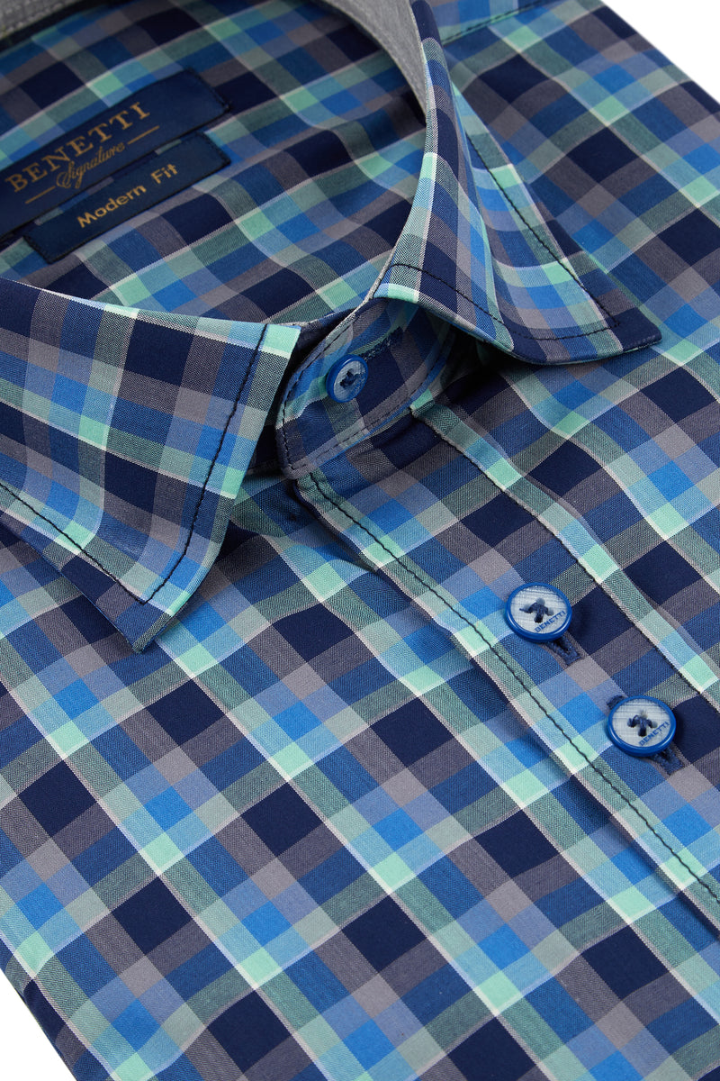 Benetti Teal Check Shirt