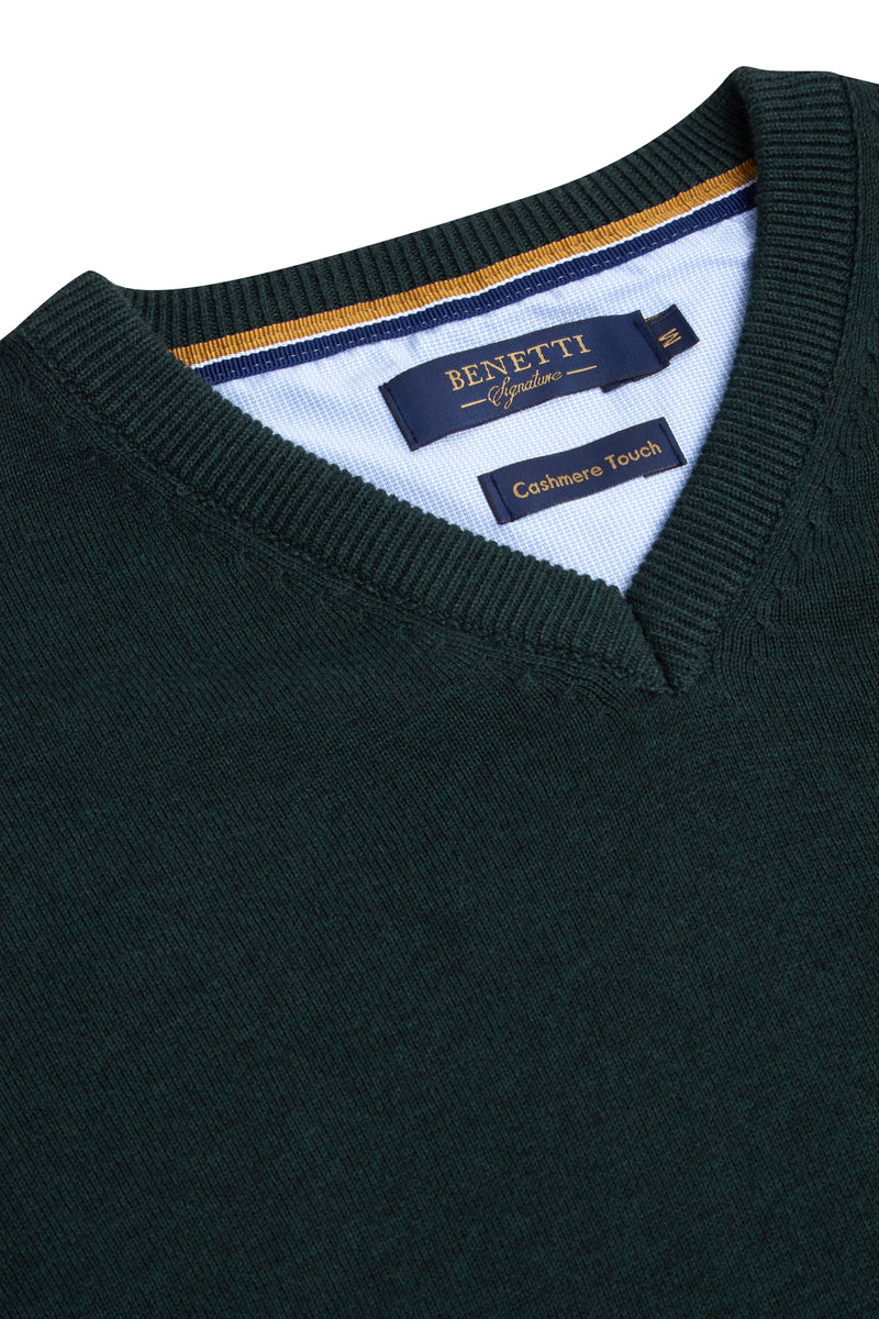 Benetti V neck green sweater