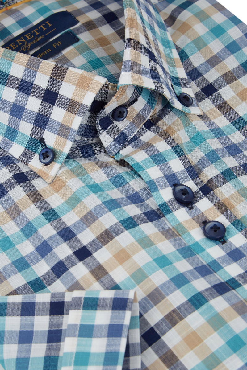 Benetti Sand Check Short Sleeve Shirt