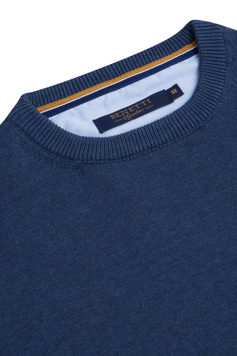 Benetti Crew Neck Blue Sweater