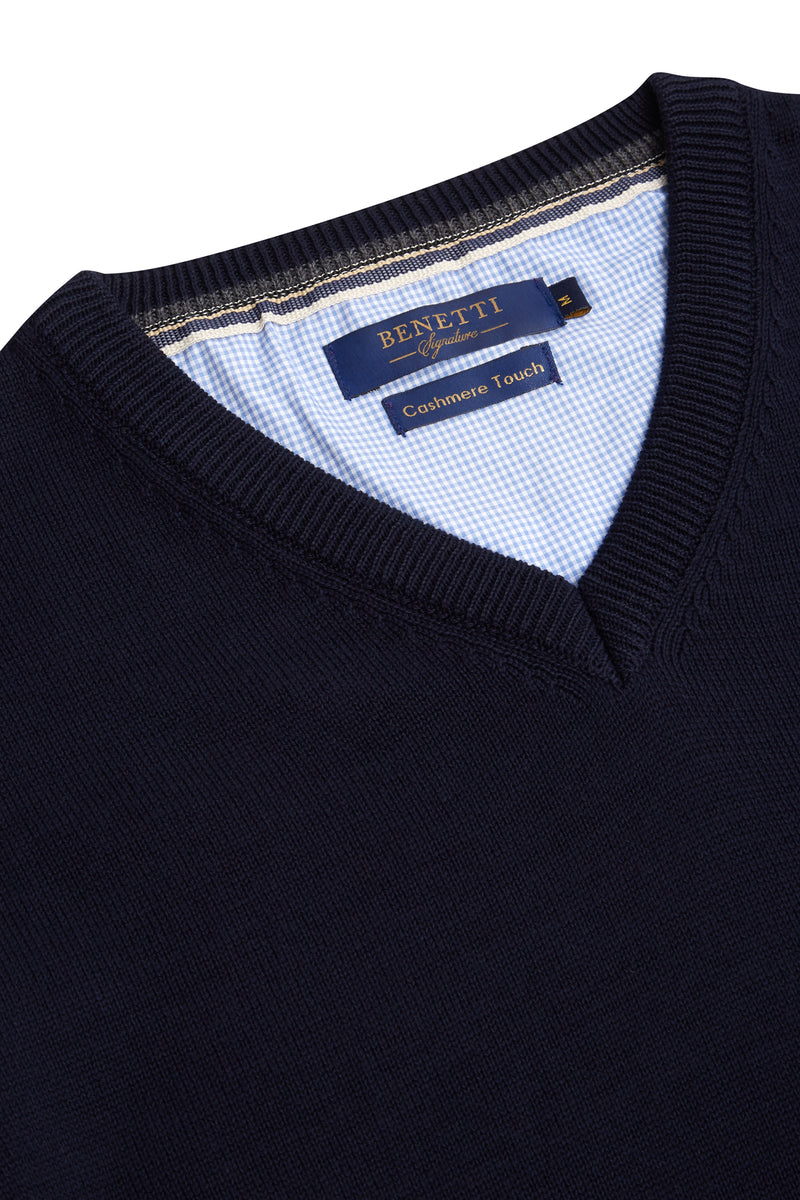 Benetti Navy V Neck Sweater