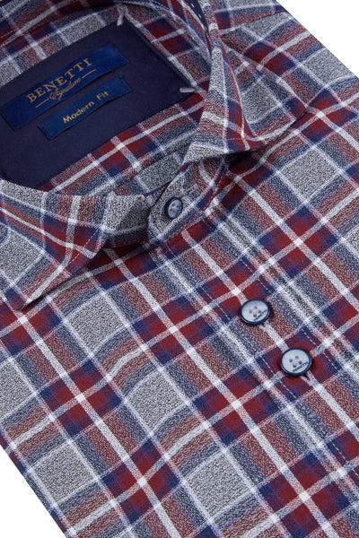 Benetti Tanner Wine Check Shirt
