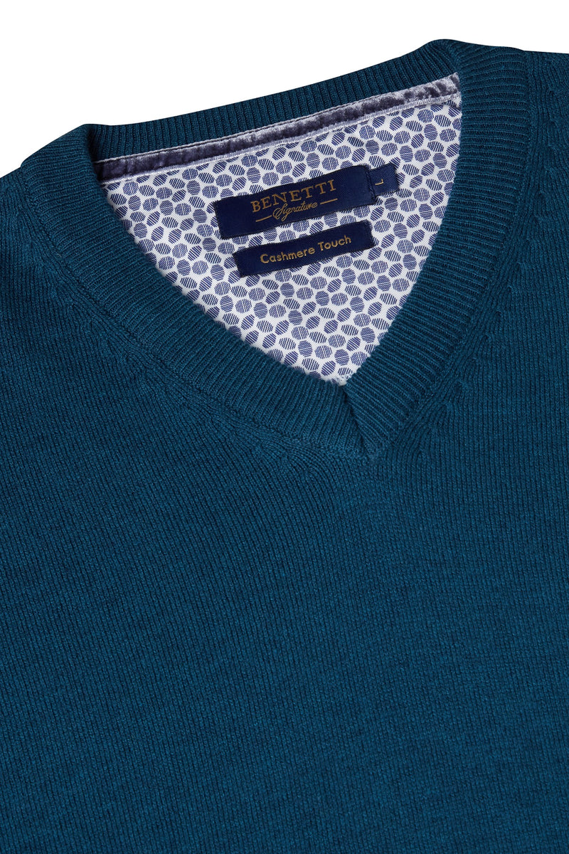 Benetti V-Neck Teal Sweater