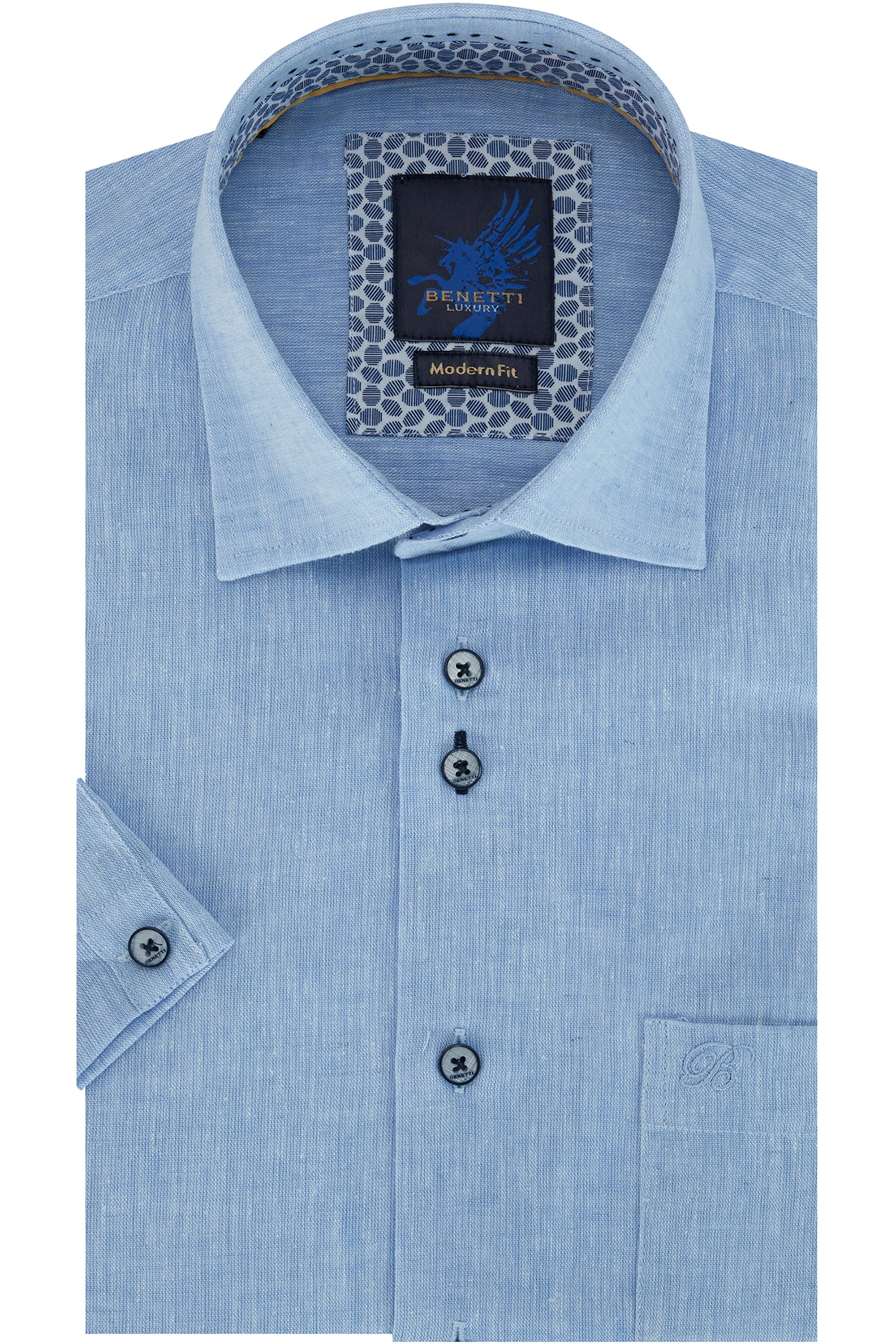 Benetti Blue Short Sleeve Shirt