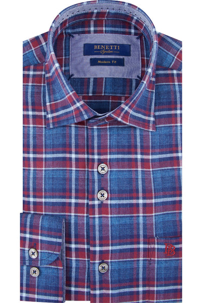 Benetti Zander Check Wine Shirt