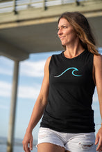Load image into Gallery viewer, Single Wave Women's Tank – Aqua & Black