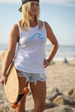 Load image into Gallery viewer, Single Wave Women's Tank – Aqua & White