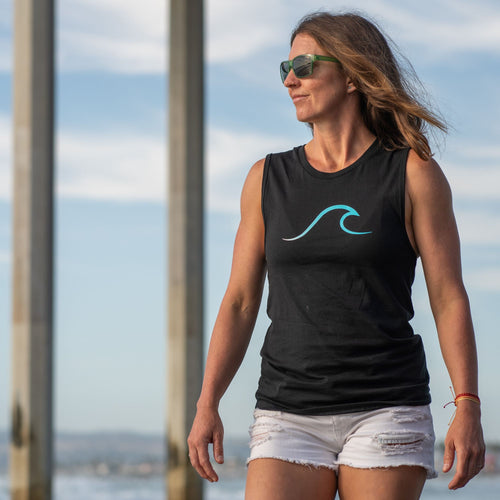 Single Wave Women's Tank – Aqua & Black