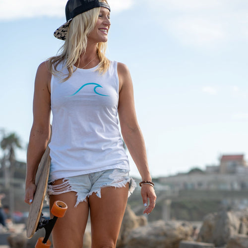 Single Wave Women's Tank – Aqua & White