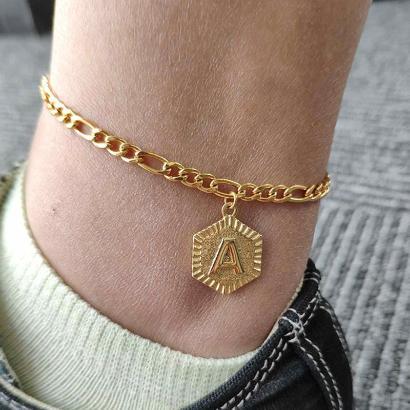 Initial Letter Gold Anklet - ArcMoon