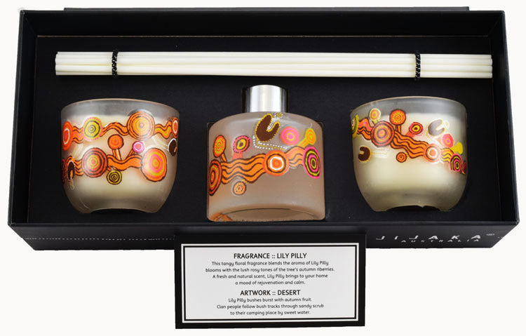 JIJAKA Aboriginal Art 3 pce Candle/Diffuser Set