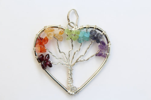 7 Chakra Tree of Life in Wire Wrapped Heart Shape Healing Gemstone Crystal Pendant