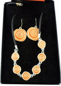 Jijaka Aboriginal Art Jewellery Set - Orange Firestones