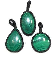 Malachite Oval Thread Pendant - 1pc