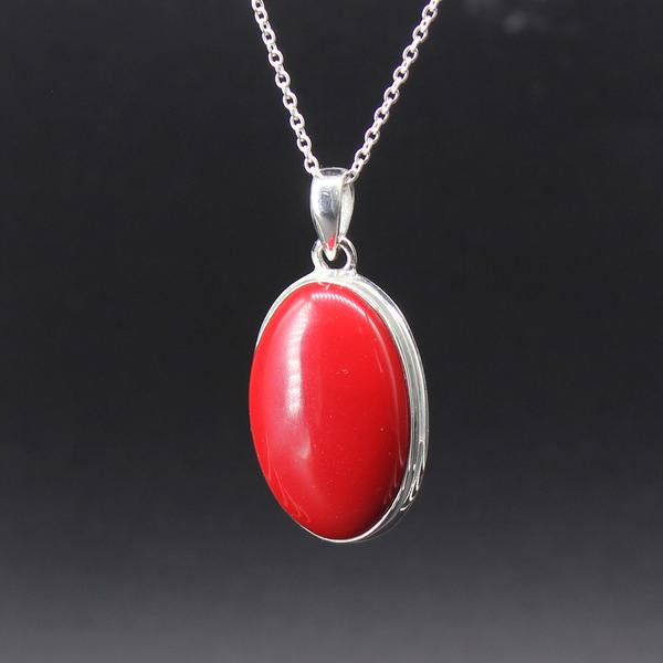 Red Coral Oval Cabochon