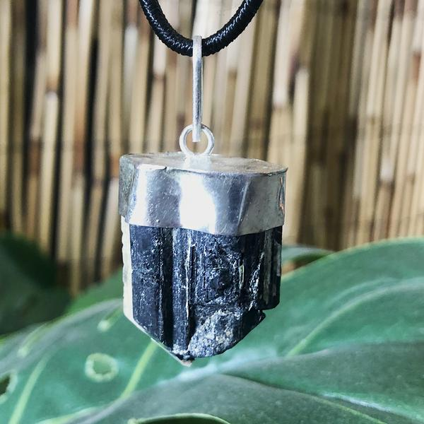 Black Tourmaline - Raw Crystal Pendant