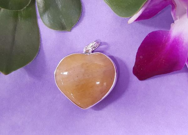 Yellow Aventurine Metal Heart Pendant
