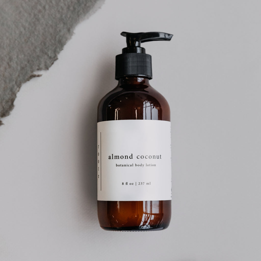 Vegan Almond Coconut Body Lotion Glass Bottle