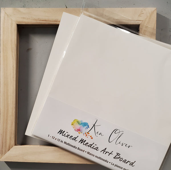Wooden Frame and Mixed Media Board Combo Pack
