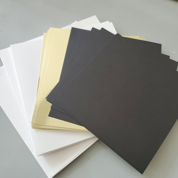 Gilded Elegance Card Kit refill with Gold Mirror Card Stock and Black Card Stock