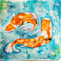 Original Art-Japanese Koi Pair Watercolor Painting