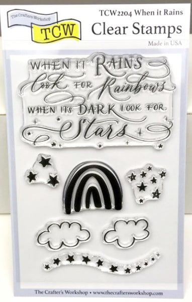 "Clear Stamp ""When it Rains"" 4x6 Stamp Set from The Crafter's Worshop"