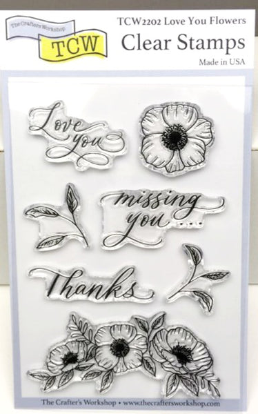 "Clear Stamp ""Love You Flowers"" 4x6 Stamp Set from The Crafter's Workshop"