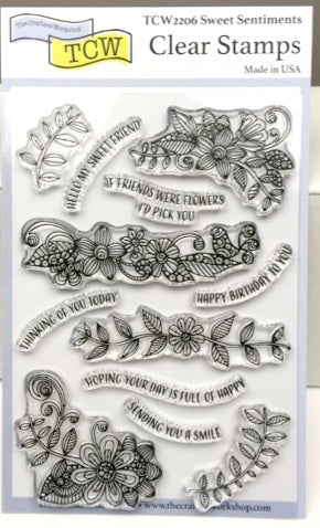 "Clear Stamp ""Sweet Sentiments""  4x6 Stamp Set from The Crafter's Workshop"