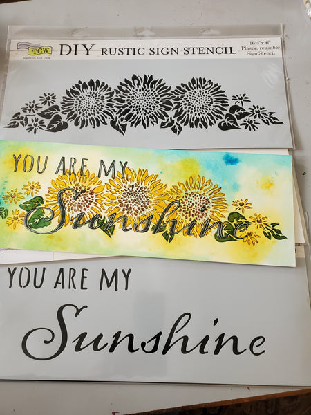 You Are My Sunshine Kit Stencil Combo with Mixed Media Board One of a Kind Craft-a-Long