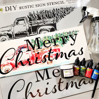 Merry Christmas Stencil Combo with Mixed Media Board