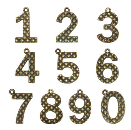 Vintage Number Charms 0-9 10 Pc Set