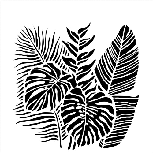 "Stencil TCW920 Tropical Fronds 12""x12"""