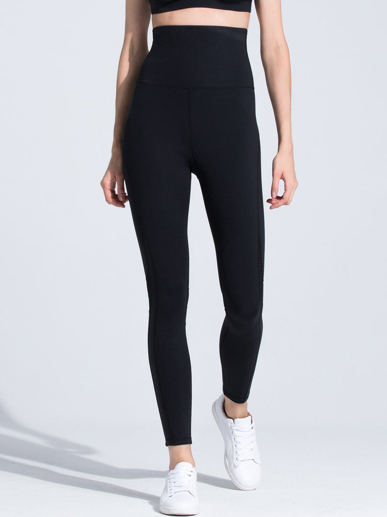 SUPER HIGH WAIST PANTS, BLACK/BLACK MESH