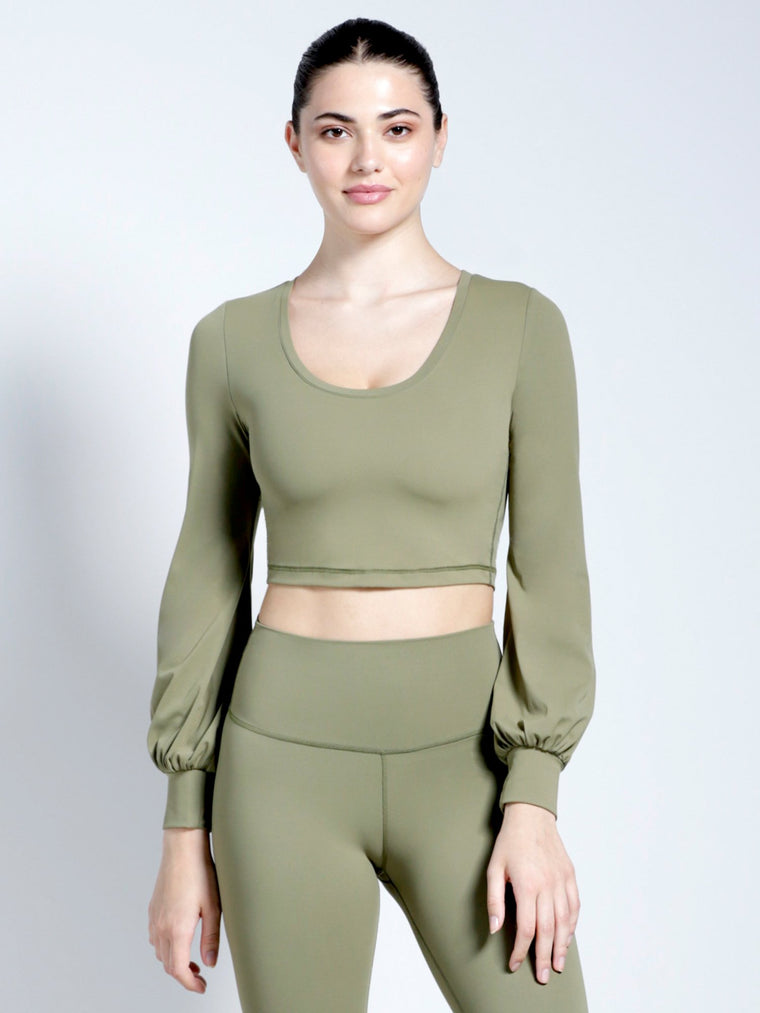 PUFF SLEEVE CROPPED TOP, SAGE
