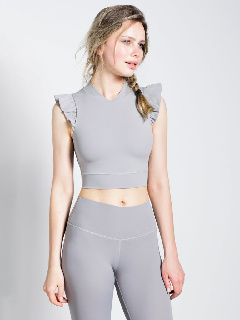 RUFFLED PURE TANK, LUNAR GREY