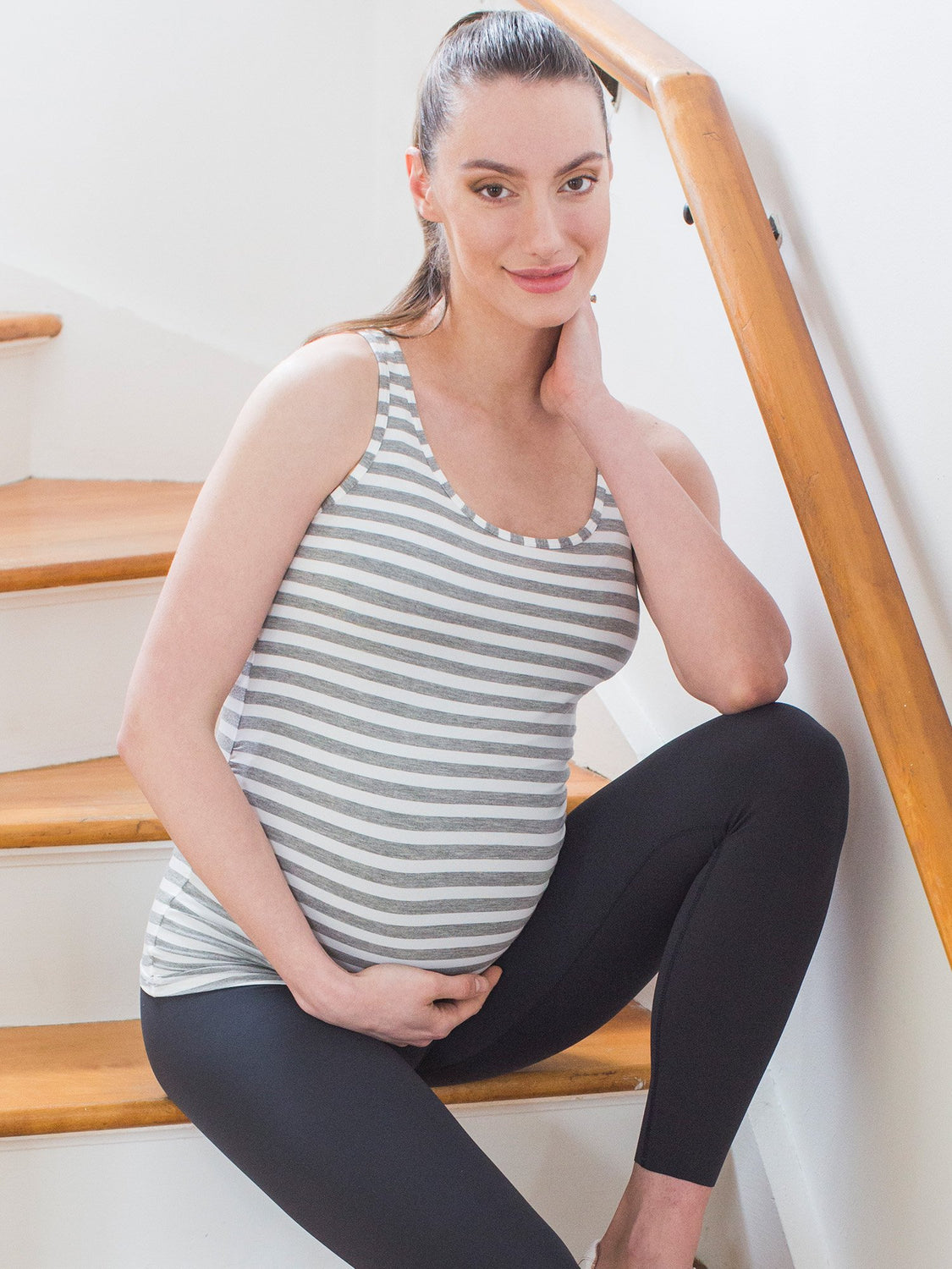 SOFT STRETCH MATERNITY TANK, LIGHT GREY STRIP