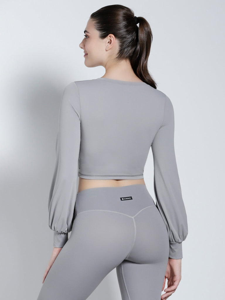PUFF SLEEVE CROPPED TOP, LUNAR GREY