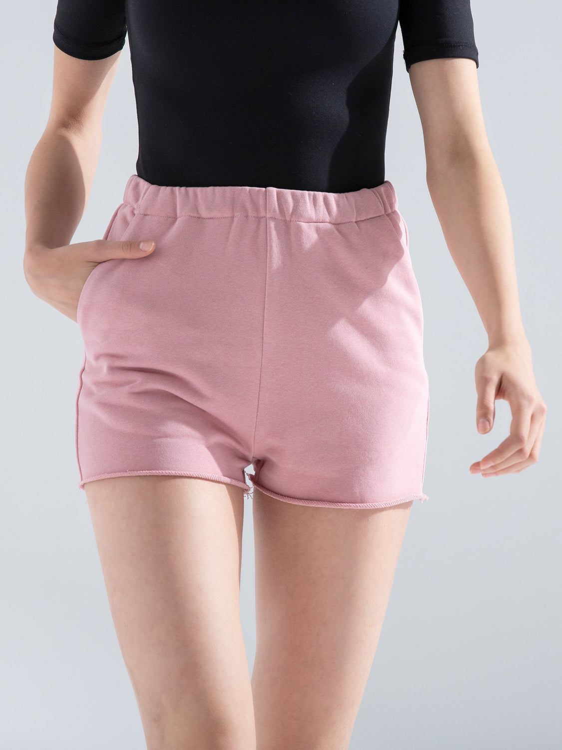 HIGH WAIST COTTON SHORTS,PINK