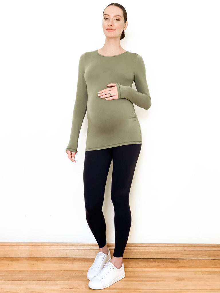 MATERNITY SOFT STRETCH LONG SLEEVE T, SAGE