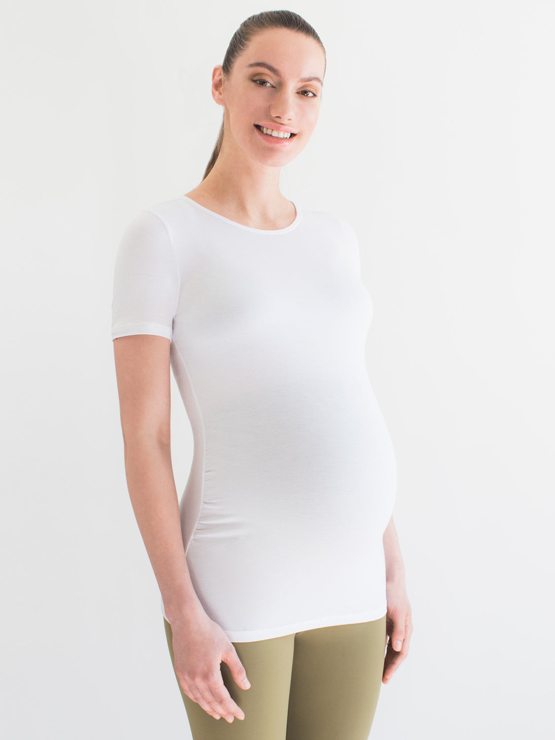 MATERNITY SOFT STRETCH SHORT SLEEVE TEE, WHITE