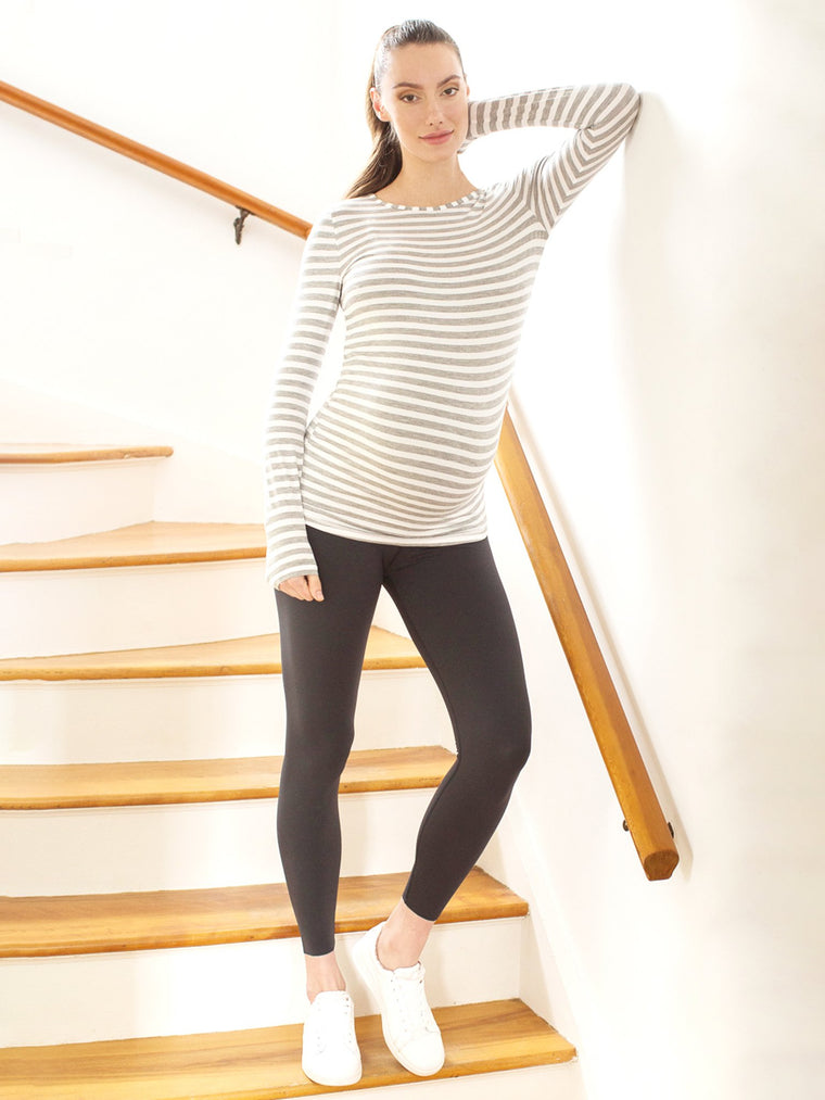 MATERNITY SOFT STRETCH LONG SLEEVE TEE, LIGHT HEATHER GREY STRIPE